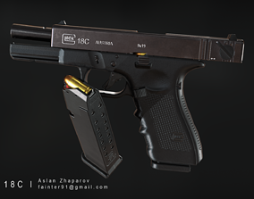 realtime Glock 18C Pistol PBR Lowpoly Gameready Asset