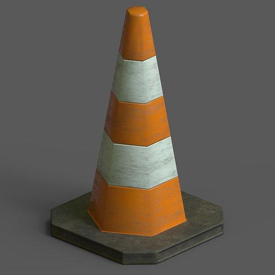 Lowpoly Pbr Game Ready Traffic Cone