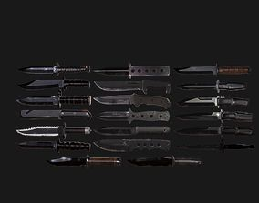 20 Military Knife Models Pack 3D asset