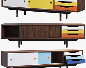 danish 1955 TV Cabinet 3 options 3D