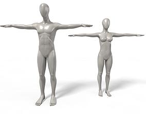 Faceless Mannequins T Poses setup 3D model