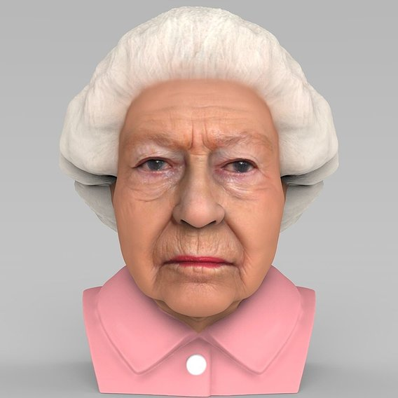 Queen Elizabeth bust for full color 3D printing