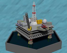 3D asset LowPoly Oil platform