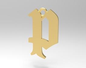 3D printable model Gothic Alphabets Little P Pendants