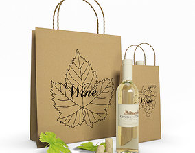 Paper Bags And Wine snack 3D model