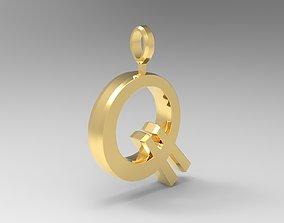 3D printable model Q Letter Pendant Gold