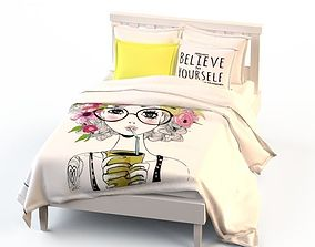Double Bed Bed Linen 3D model summer smoothie