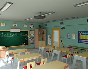 game-ready Cartoon Classroom 3D Model