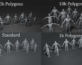 game-ready Human Body Base Mesh 40 Models Pack