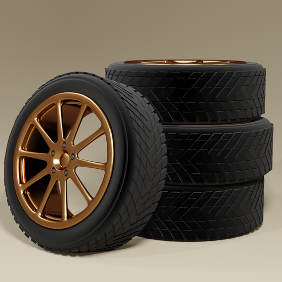 Sports wheel - drive and tire 3D model