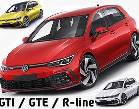 3D model Volkswagen Golf 2020 GTI GTE R-line