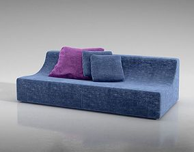 Stylish Softy Blue Sofa 3D model