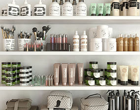 Shelf with a collection of cosmetics 3D model