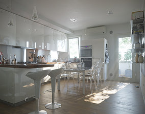 3D model Contemporary Kitchen suburban