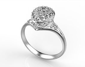 Pear Shaped cluster ring All Size 3D printable model