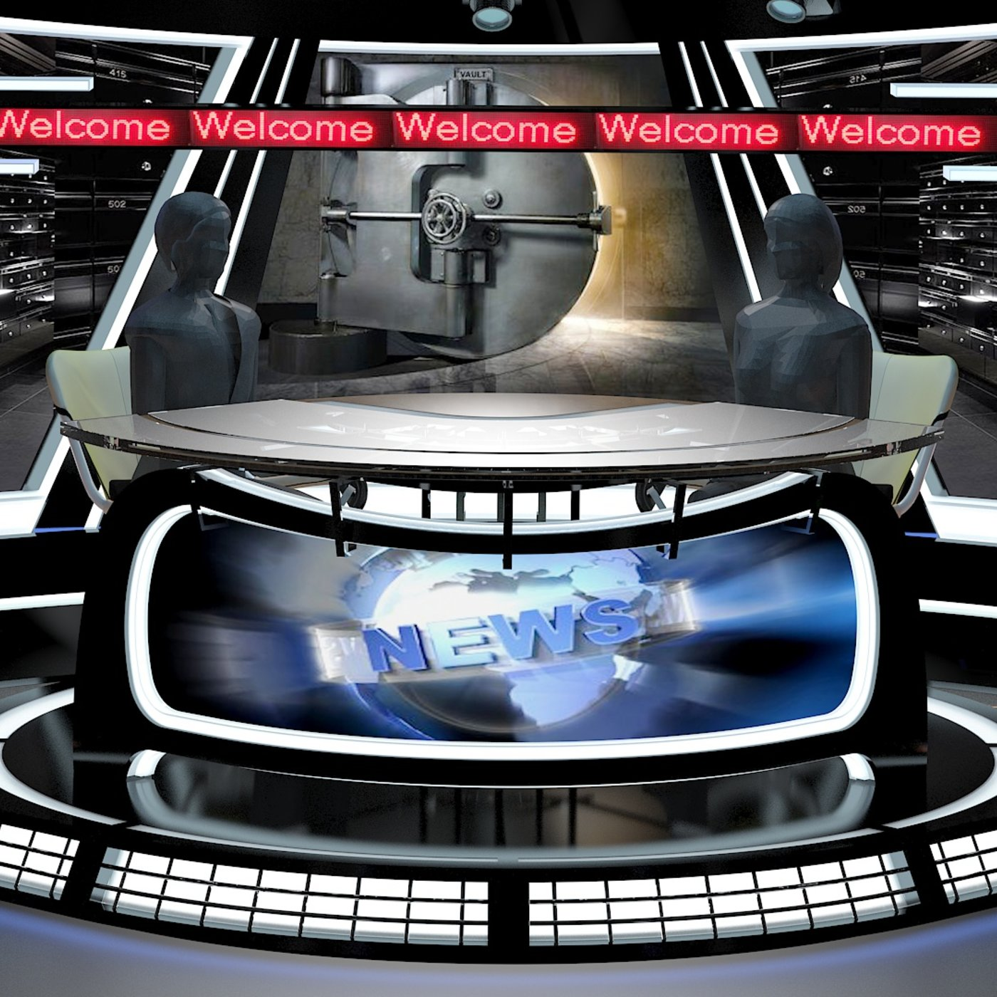 Virtual TV Studio News Set 34