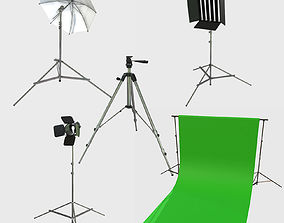 3D model Collection of Low Poly PBR Studio Camera Props