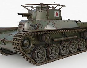 3D model Tank Type 97 Chi Ha Green Japan Vray