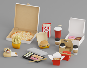 Takeaway Fast Food Low G44 3D asset