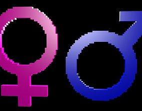 Symbols gender voxel 1 3D