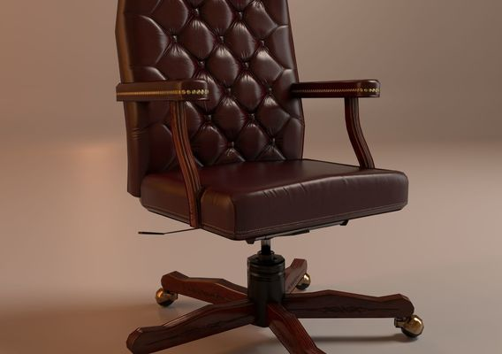 Low-poly burgundy office chair