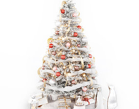 3D Set of Christmas tree and decorative elements