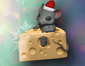 christmas Mouse in cheese 3D print model