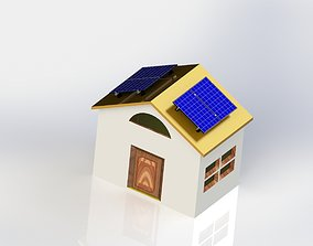 solar cells - rural house with solar cells 3D print model