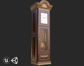 Vintage Furniture Clock PBR Game Ready 3D asset game-ready