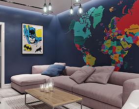 Interior Living Room Loft 01 3D