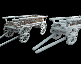 Wooden cart covered with snow 02 3D model
