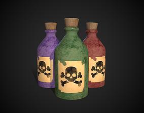 Poison Bottles 3D asset