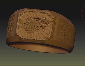 Game of Throne House Stark Wolf Ring 3D print model