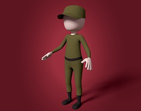3D asset Cartoon Soldier - Stickman