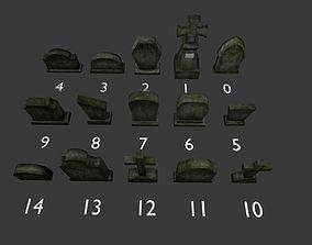 Tomb stone graveyard low poly model pack 3D asset