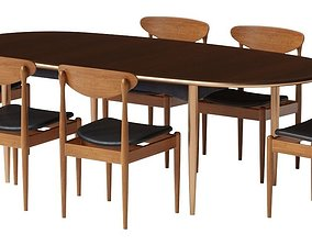 Parker dining table and chair 3D model