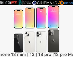 Apple iPhone 13 mini and 13 and 13 pro and 13 3D model 1