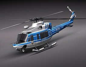 3D model police bell 412 helicopter