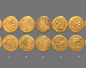 Ancient Roman Gold Coin Pack - Roman Treasure 3D model 1