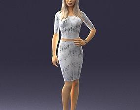 3D Slender blonde girl in top and skirt 2021