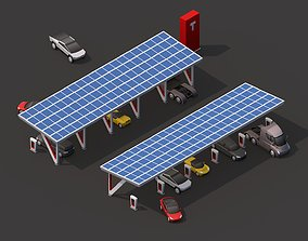3D model Cartoon Low Poly Tesla Charger Station Cars Pack