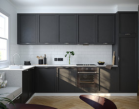 Modern Dark Grey Kitchen 3D