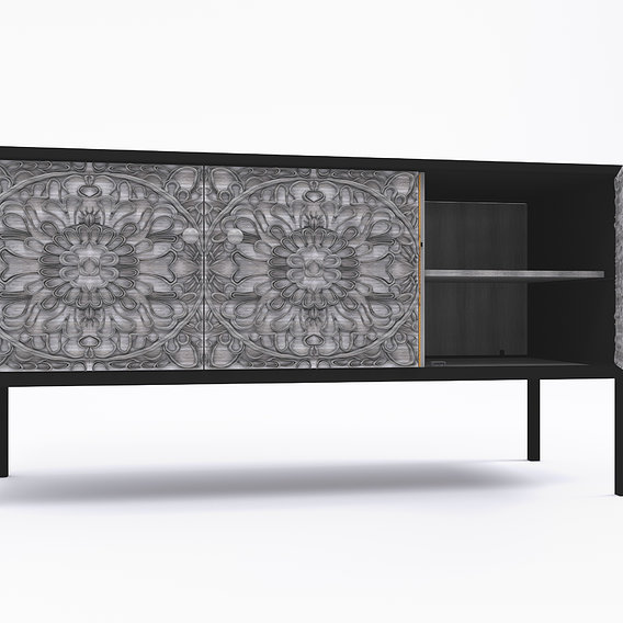 Sideboard in blsck metal with three black wood doors sculpted