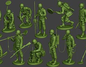 American engineer soldiers ww2 A9 Pack 3D model