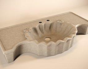 Stone sink handmade 3D model bathroom