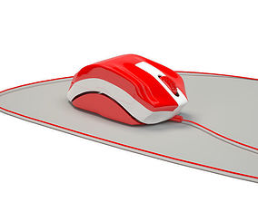 Mouse Keyboard Computer Mouse Red White 3D print model