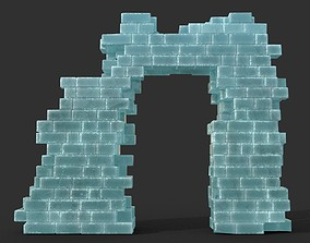 3D model Low poly Ancient Roman Ruin Construction R2 - Ice