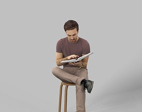 3D asset Filip A Sitting Young Student Man Reading A 4