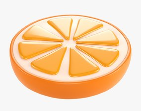 3D model Orange slice stylized 02