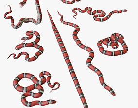 low-poly Scarlet Kingsnake - 3D Mesh